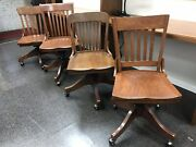 Lot Of 4 Antique Bankers Chair Oak Wood From Hitchcock Costume Designer Obo La