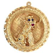 Charm Pendant 14k Yellow Gold French Poodle Dog Sapphires And Ruby Estate Jewelry