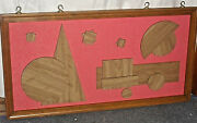 Authentic 1960s Abstract Cubism Wood Wall Art Steam Engine 51''x 27''x1 1967