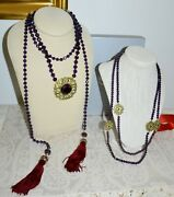 New 520 Heidi Daus How Suite It Is 3-pc Necklace Set Crystal Amethyst