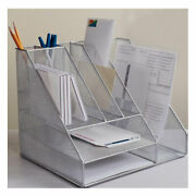 Dcp Desktop Organizer With Pencil Holder Book Stand File Holder Rack Silver