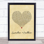 Sweater Weather Vintage Heart Song Lyric Quote Music Print