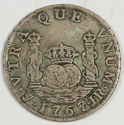 Bolivia 1767 Pts Jr 2 Reales Silver Coin Vf Charles Iii Km48 Toned With Dot