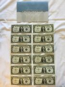 One Dollar Silver Certificate Set 1935a To 1957b, 12 Different Notes All Uncirc
