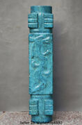 24 Antique Old China Hongshan Culture Turquoise Carved Dragon Yu Cong Jade Cong