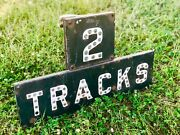 Vintage Railroad Sign 2 Tracks Cast Iron With Glass Marbles Rail Road Classic