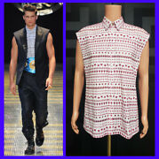 S/s 2013 Look 50 Versace Embroidered Eyelet 100 Cotton Sleeveless Shirt 41 - L