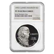 1993 S James Madison Bill Of Rights 1 Silver Dollar Commemorative Ngc Pf 70