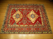 6.3 X 9 Hand Knotted Signed Afghan Kazak Vegetable Dyes Hand Spun Fine Wool Rug