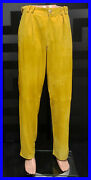 New Versace Mustard Yellow Suede Leather Pants Size 32