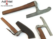 Bn_06c - Small Damascus Steel Viking Broad Axe, Kitchen Axe Or Woodworking Axe