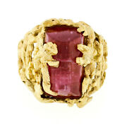 Vintage 18k Gold Dome Faceted Pink Tourmaline Open Freeform Nugget Textured Ring