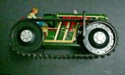 Vintage 1950's Usa Marx Toy Tin Metal Climbing Windup Toy Tractor  - Works