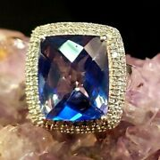 Aaa Blue Tanzanite 10.5ct Diamond Cluster .4ct 925 Sterling Silver Ring Size 7