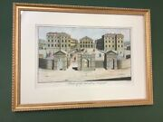 """""""a View Of The Foundling Hospital"""" Handcolored Copper Plate Engraving 1755"""
