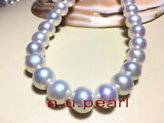 Australia Top 1713-16mm Real South Sea Perfect Round White Pearl Necklace 14k