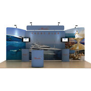 20ft Tension Fabric Trade Show Display Booth Kits Back Wall Stand All Included