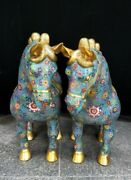 24 Old China Dynasty Palace Bronze Cloisonne Enamel Lucky Horse Statue Pair