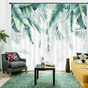 Small Coarse Green Leaf 3d Curtain Blockout Photo Printing Curtains Drape Fabric
