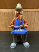 German Smoking Man Wooden Toymaker. Xl Heavy Collectible One Of A Kind