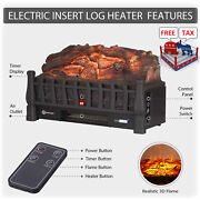 Electric Log Heater Infrared Set Remote Fire Fireplace Realistic Insert Ember