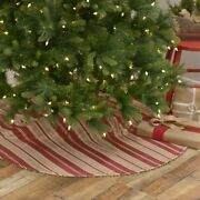 Vhc Brands Farmhouse 48 In Tree Skirt Red Christmas Bells Vintage Holiday Decor