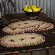 Vhc Brands Primitive 18x12 Star Placemat Set Of 6 Red Tan Kitchen Table Decor