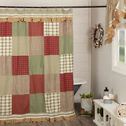 Vhc Brands Farmhouse Shower Curtain Red Rod Pocket Patchwork Lace For Bath Decor