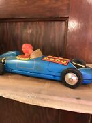 Vintage Race Car Toy Tin Litho Wind-up Metal Indianapolis 500 Indycar Toy.