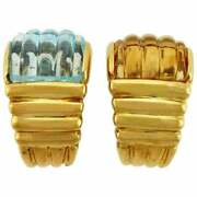 Unique Blue Topaz And Citrine 18 Karat Yellow Gold Clip-on Earrings
