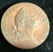 1773 George Iii Colonial Virginia Half Penny With Period Variety
