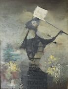 Juan Batlle Planas Argentinian 1911-1966 Oil Painting On Board Abstract Figure