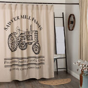 Vhc Brands Sawyer Mill Farmhouse Charcoal And Khaki Tractor Shower Curtain 72x72