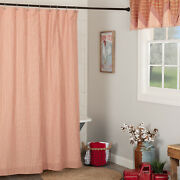 Vhc Brands Sawyer Mill Farmhouse Red And Tan Ticking Stripe Shower Curtain 72x72