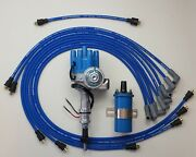 Chevy 350 Small Female Cap Hei Distributor + 8.5mm Wires Under Exhaust+blue Coil
