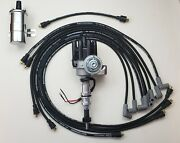 Chevy 350 Black Female Hei Distributor + 8.5mm Wires Under Exhaust + Chrome Coil