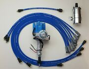 Chevy 350 Female Hei Distributor + Blue 8.5mm Wires Under Exhaust + Chrome Coil