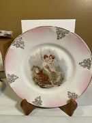Antique Z.s. And Co. Bavaria Orleans Cherub And Lady In Courtyard Decorative Plate