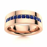 6 Mm Mens Natural Blue Sapphire Half Wedding Band In 14k Rose Gold Solid Ring