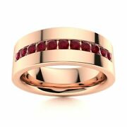 6 Mm Mens Natural Aaa Ruby Half Wedding Band In 14k Rose Gold Solid Ring