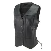 Womenand039s Motorcycle Black Pocket Leather Vest With Side Laces Gun Pockets