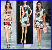 S/2015 New Versace Abstract Print Stained Glass Window Dress 38 - 4