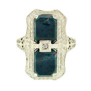 Antique Art Deco 14k White Gold Dual Bloodstone And Diamond Etched Filigree Ring