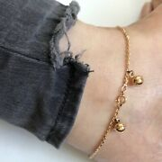 14k Solid Yellow Gold Bells Dangle Thick Cable Chain Anklet 10.5- O14