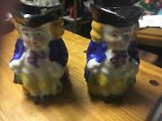 Pair Of Matching Vintage Toby Mugs, Made In Occupied Japan. Blue Coats On Men