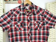 Route 66 Cowboy Recycled Shirt Western Short Sleeve Pearl Snap Red Check L