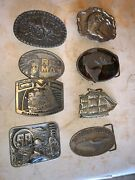 Menandrsquos Belt Buckle Assorted Lot Vintage Gmc Rodeo Parker Knives Chattanooga Tn