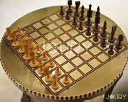 Chess Table - Chess Board- Round Table - Wooden Chess Board - Copper - Marquetry