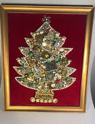 Exquisite Large Vintage Estate Jewelry Handmade Christmas Tree Framed 18x22andrdquo