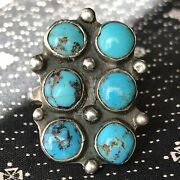 1920s Blue Vivid Turquoise Silver Ingot Ring Old Fred Harvey Pawn Long Pawn Old